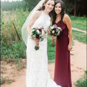 Wine colored bridesmaid dress, long